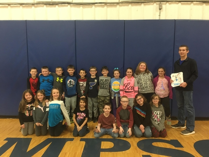 Ms. Links's 3rd grade class drew Corbin Fitch posters celebrating his 1000 career points achievement.