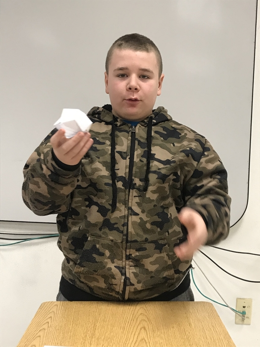 Braxton shows us how to make origami.
