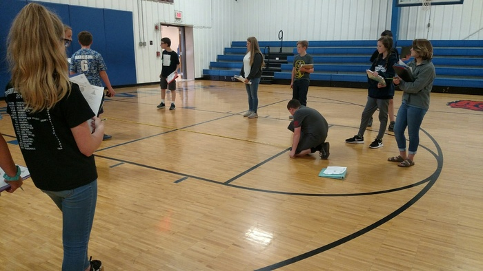 Measuring parts of the basketball court.