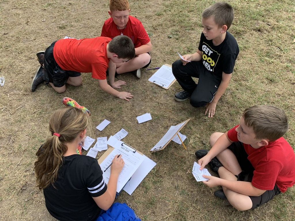 "5th Grade - team Lanie working to complete the  ""Eat or Be Eaten"" food chain game"